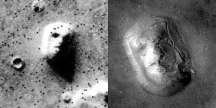Links die Aufnahme der Viking-1 von 1976, rechts dasselbe Marsgesicht, aufgenommen von Mars Global Surveyor im Jahr 2001.