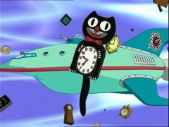 """Szene aus der Folge """"Roswell that ends well"""" der Trickserie Futurama, in der die Planet-Express-Crew wegen des unsachgemäßen Gebrauchs einer Mikrowelle ins Jahr 1947 zurückreist. (© 2003 Twentieth Century Fox)"""