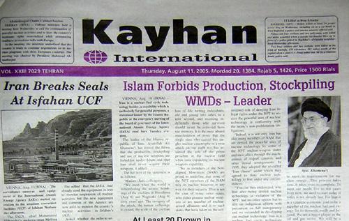 Titelseite der regierungsnahen Zeitung Kayhan vom 11. August 2005.