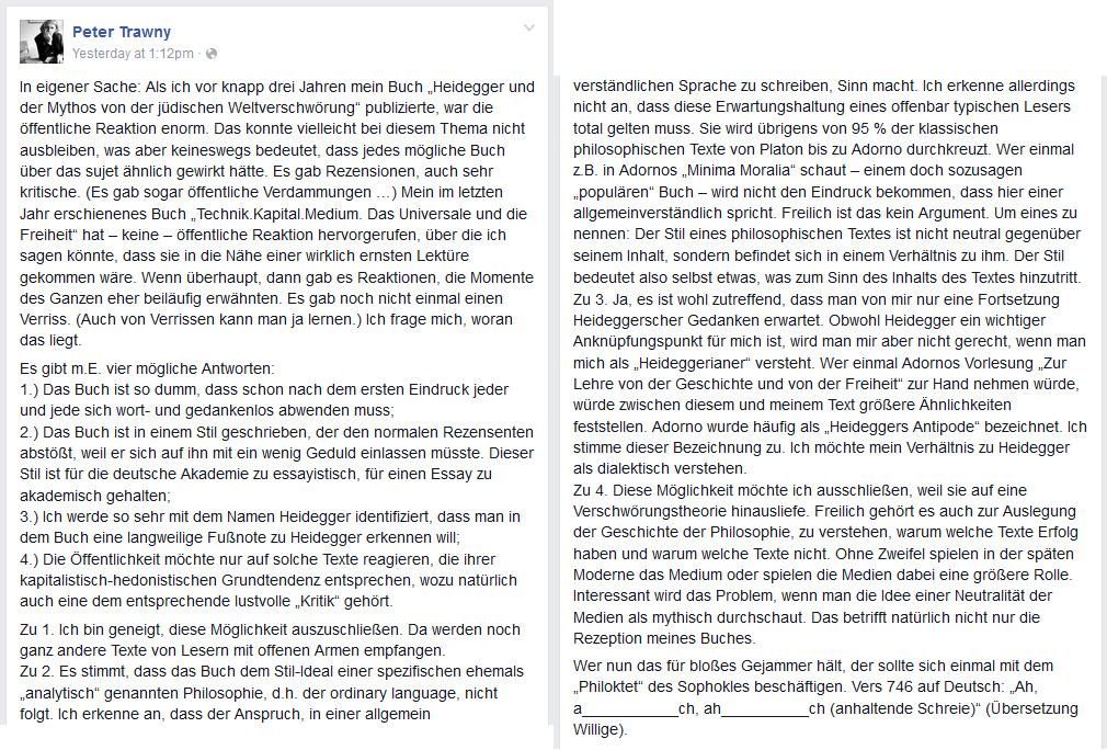 Peter Trawny beschwert sich auf Facebook über mangelnde Resonanz auf sein Buch. Hätte er doch nicht!